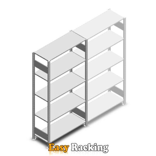 Legbordstelling Heavy Duty 2000x1000x400, 5 niveaus metaal verzinkt, 250 kg beginsectie