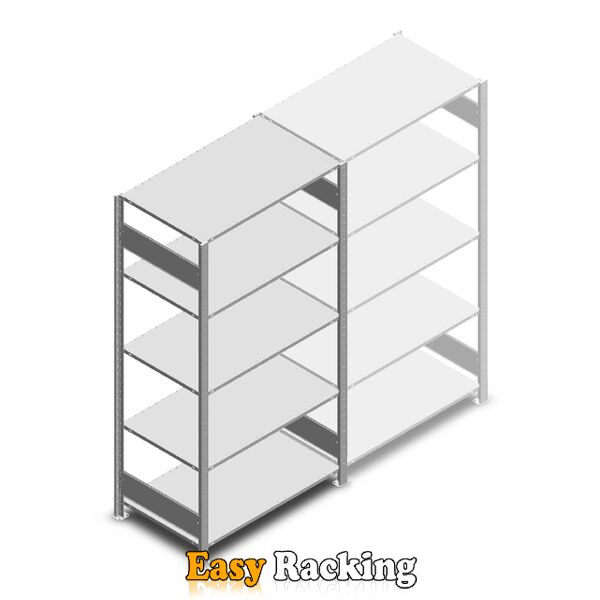 Legbordstelling Heavy Duty 2000x1000x600, 5 niveaus metaal verzinkt, 150 kg beginsectie