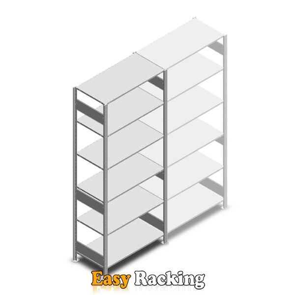 Legbordstelling Heavy Duty 2500x1000x500, 6 niveaus metaal verzinkt, 150 kg beginsectie