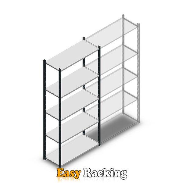Legbordstelling Medium Duty 2200x1000x400, 5 niveaus metaal antraciet, 90 kg beginsectie