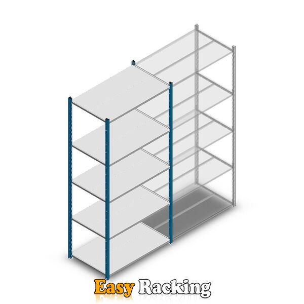 Legbordstelling Medium Duty 2200x1000x600, 5 niveaus metaal blauw, 180 kg beginsectie