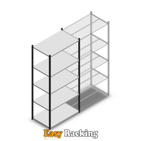 Legbordstelling Medium Duty 2200x1000x600, 5 niveaus metaal verzinkt, 180 kg beginsectie