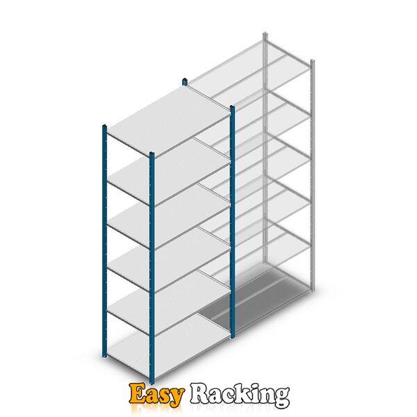 Legbordstelling Medium Duty 2500x1000x600, 6 niveaus metaal blauw, 180 kg beginsectie