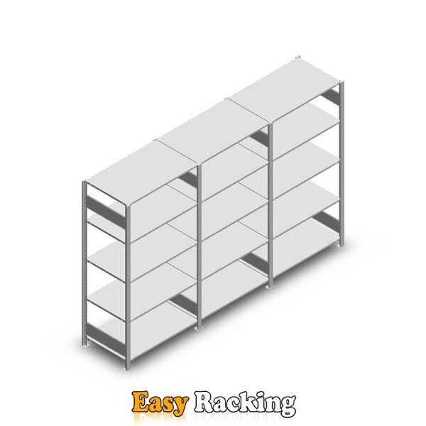 Voordeelrij Legbordstelling Heavy Duty 2000x3000x600, 5 niveaus metaal verzinkt 150 kg