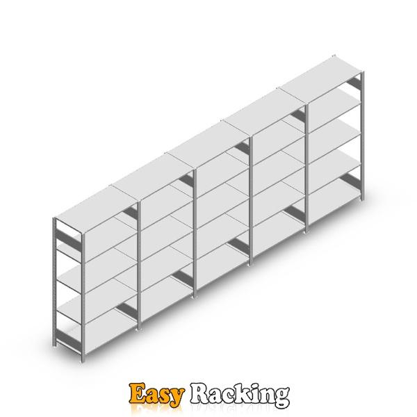Voordeelrij Legbordstelling Heavy Duty 2000x5000x500, 5 niveaus metaal verzinkt 150 kg