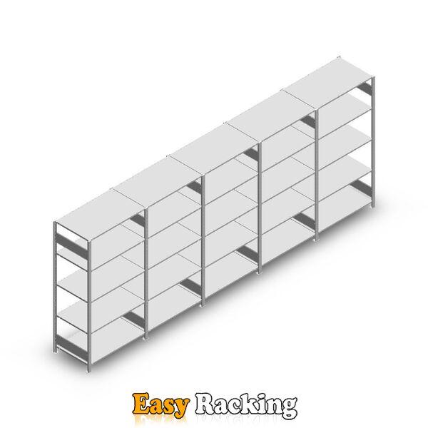 Voordeelrij Legbordstelling Heavy Duty 2000x5000x600, 5 niveaus metaal verzinkt 150 kg