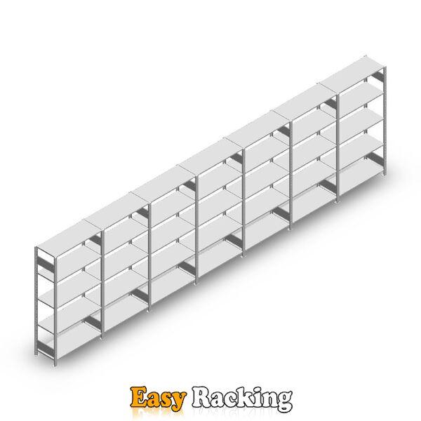 Voordeelrij Legbordstelling Heavy Duty 2000x7000x400, 5 niveaus metaal verzinkt 150 kg