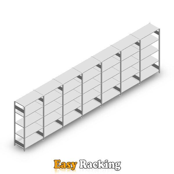Voordeelrij Legbordstelling Heavy Duty 2000x7000x500, 5 niveaus metaal verzinkt 150 kg