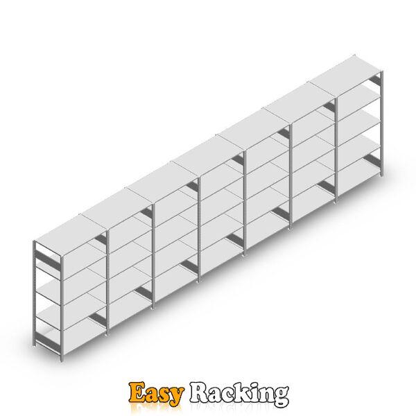 Voordeelrij Legbordstelling Heavy Duty 2000x7000x600, 5 niveaus metaal verzinkt 150 kg