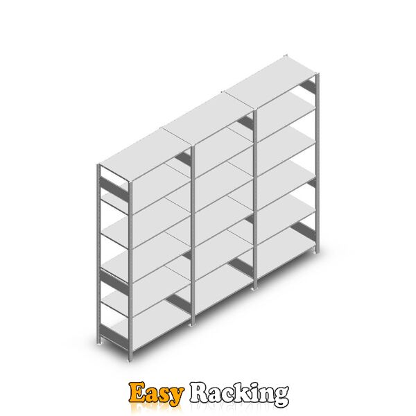 Voordeelrij Legbordstelling Heavy Duty 2500x3000x500, 6 niveaus metaal verzinkt 250 kg