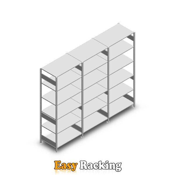 Voordeelrij Legbordstelling Heavy Duty 2500x3000x600, 6 niveaus metaal verzinkt 150 kg