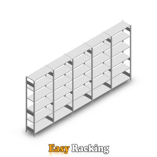 Voordeelrij Legbordstelling Heavy Duty 2500x5000x400, 6 niveaus metaal verzinkt 250 kg