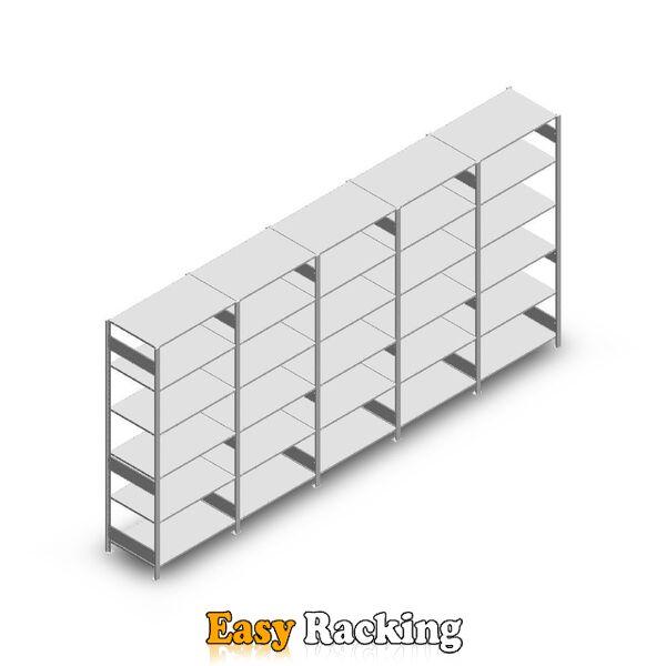 Voordeelrij Legbordstelling Heavy Duty 2500x5000x600, 6 niveaus metaal verzinkt 150 kg
