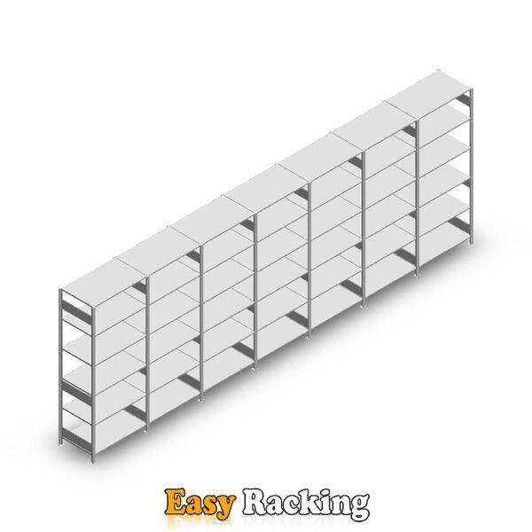 Voordeelrij Legbordstelling Heavy Duty 2500x7000x600, 6 niveaus metaal verzinkt 250 kg