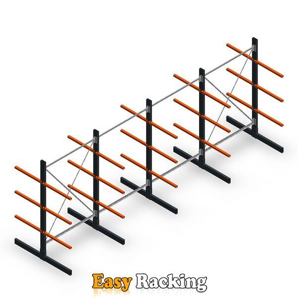 Voordeelrij lichte draagarmstelling dubbelzijdig 2000x5000 armlengte 600 mm, 3 niveaus